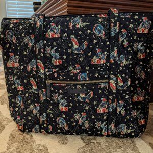 Vera Bradley Large Iconic Tote Holiday Owls